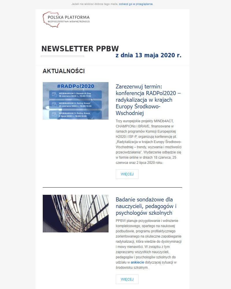 Newsletter PPBW - maj 2020 r.