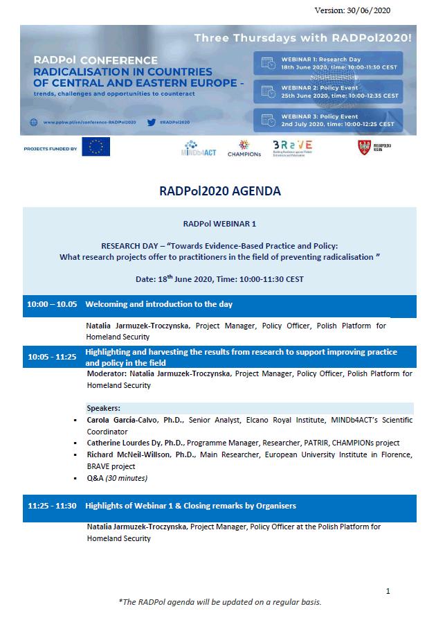 RADPol2020 - agenda