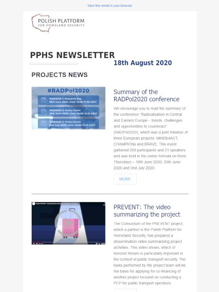 PPHS newsletter - August 2020