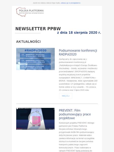 Newsletter PPBW - sierpień 2020