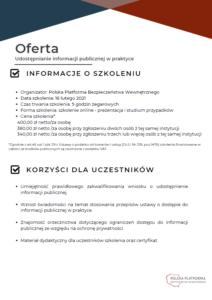 Oferta szkolenia online - informacja publiczna
