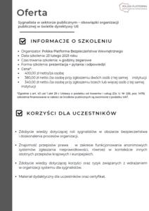 Oferta szkolenia online - sygnalista